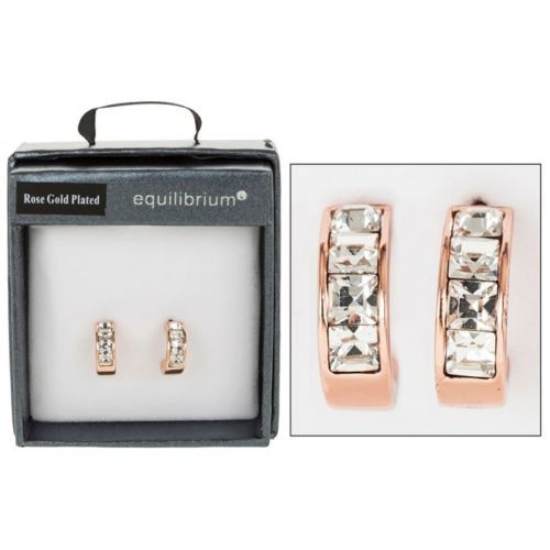 Equilibrium Rose Gold Plated Crystal Hoop Earrings