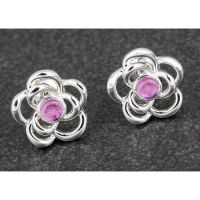 Equilibrium Silver Plated Glitter Roses Earrings