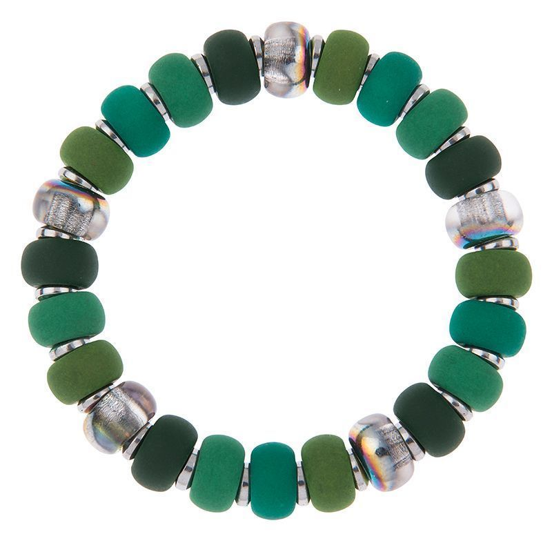 Carrie Elspeth Forest Green Clique Haematite Bracelet