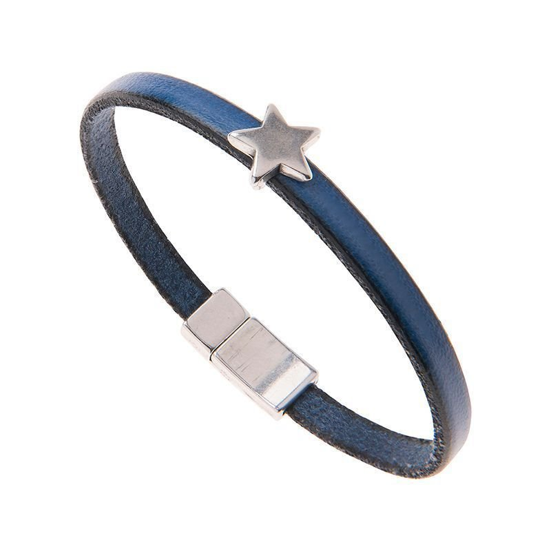 Carrie Elspeth Blue Leather Star Charm Bracelet