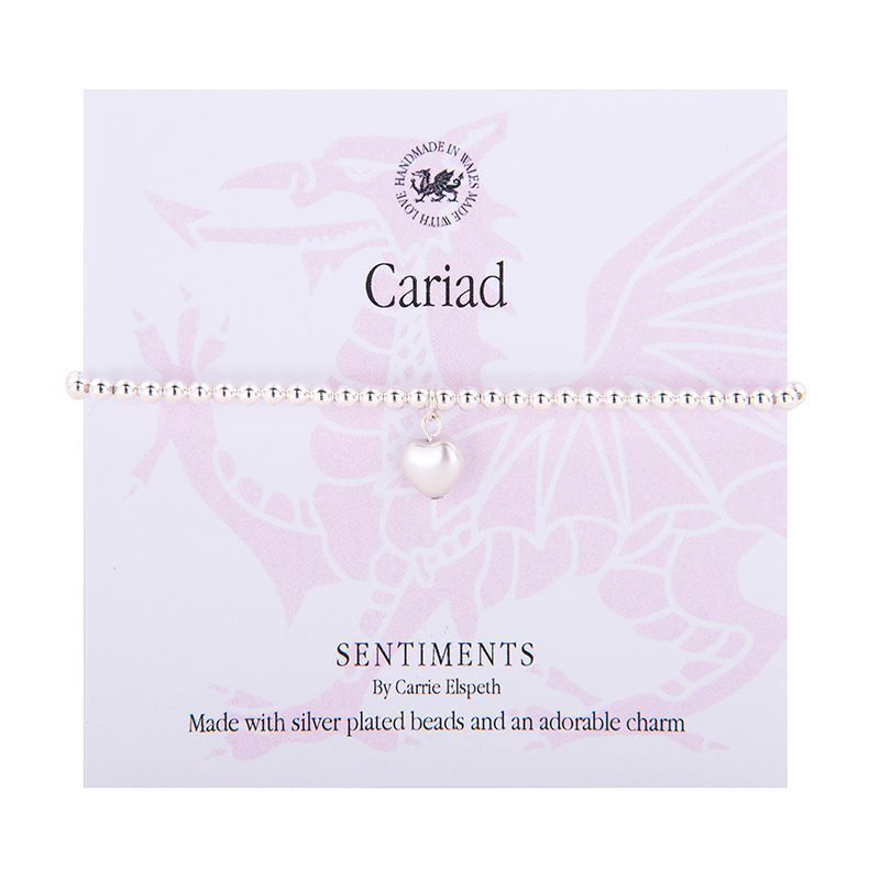 Carrie Elspeth Bracelet 'Cariad/Love' Gift Card Wales Charm Bangle Friend Family