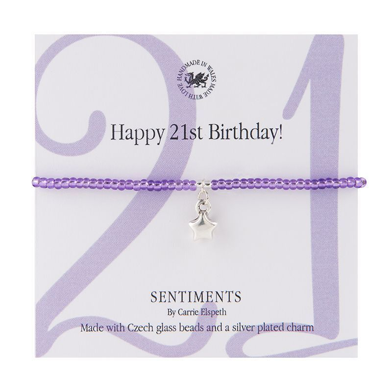 Carrie Elspeth Bracelet 'Happy 21st Birthday' Sentiment Gift Card