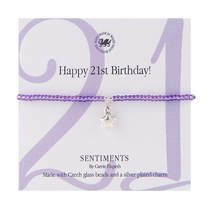 Carrie Elspeth Bracelet 'Happy 21st Birthday' Sentiment Gift Card