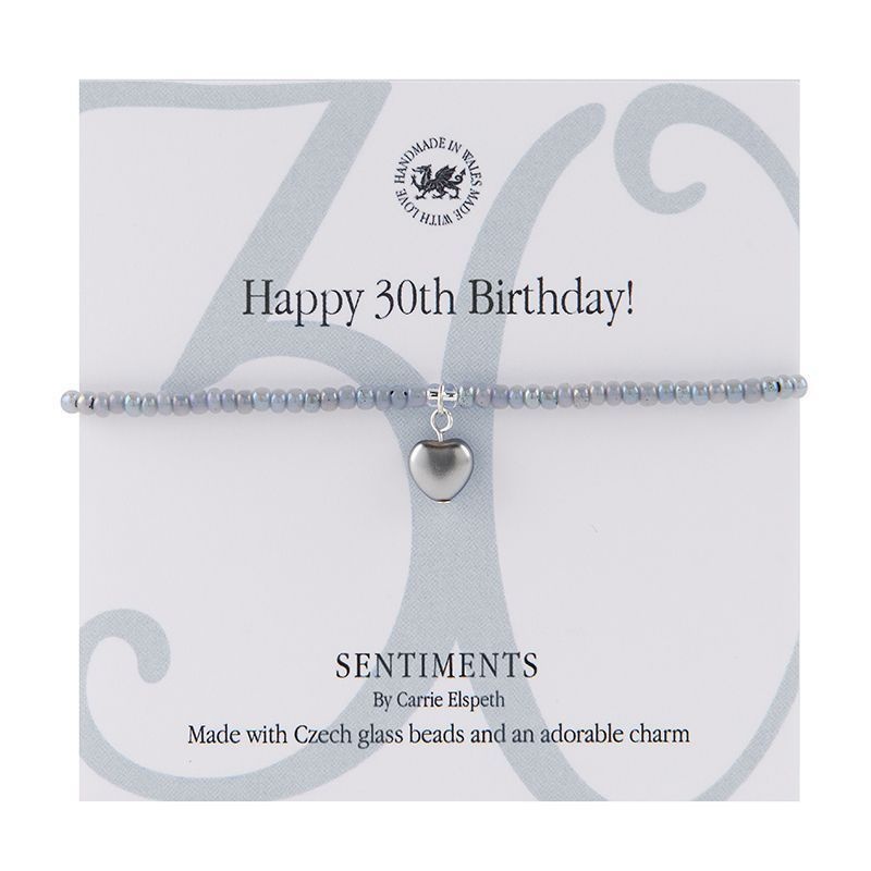 Carrie Elspeth Bracelet 'Happy 30th Birthday' Sentiment Gift Card