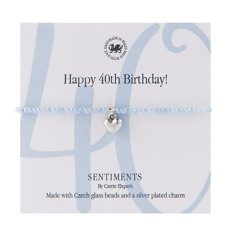 Carrie Elspeth Bracelet 'Happy 40th Birthday' Sentiment Gift Card