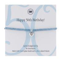 Carrie Elspeth Bracelet 'Happy 50th Birthday' Sentiment Gift Card
