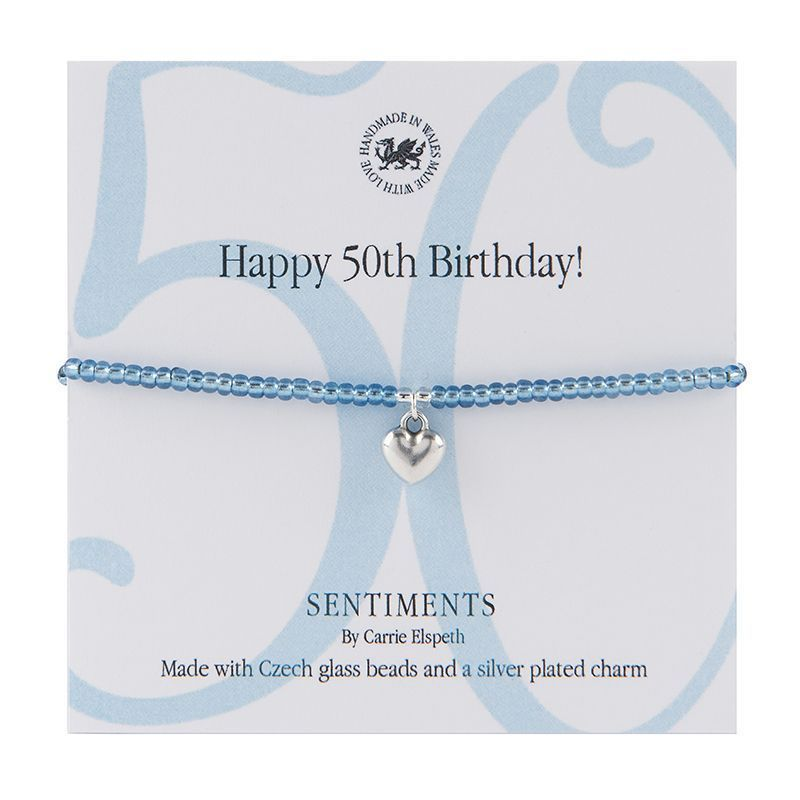 Carrie Elspeth Bracelet 'Happy 50th Birthday' Sentiment Gift Card