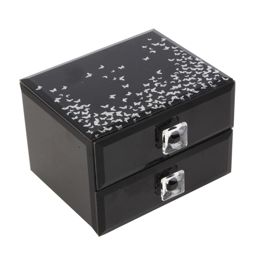 2 Drawer Black Glass Jewellery Box With Silver Butterflies