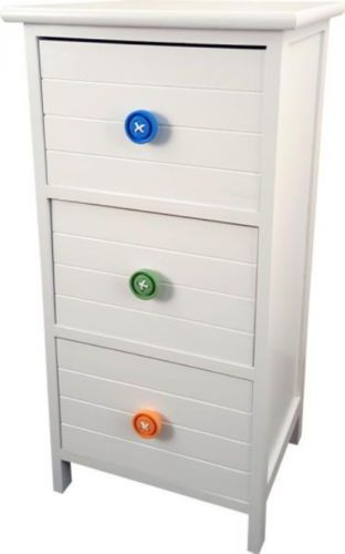 3 Drawer White Wooden Cabinet With Coloured Button Handles