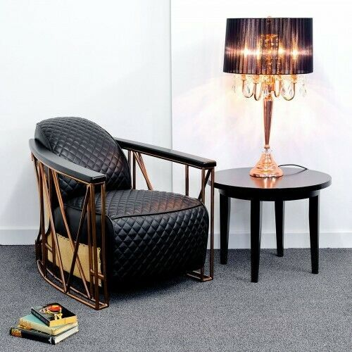 Luxury Aviator Black Leather Arm Chair With Bronze Metal Frame