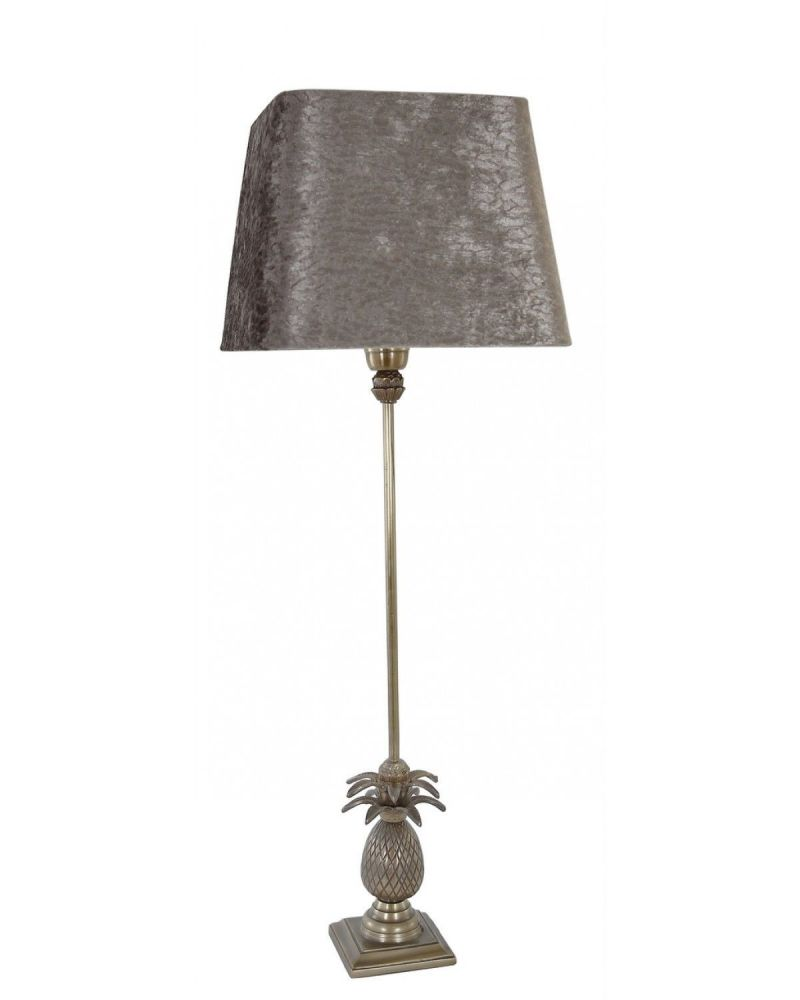 """Antique Brass Pineapple Tall Table Lamp With 10"""" Grey Snakeskin Shade"""