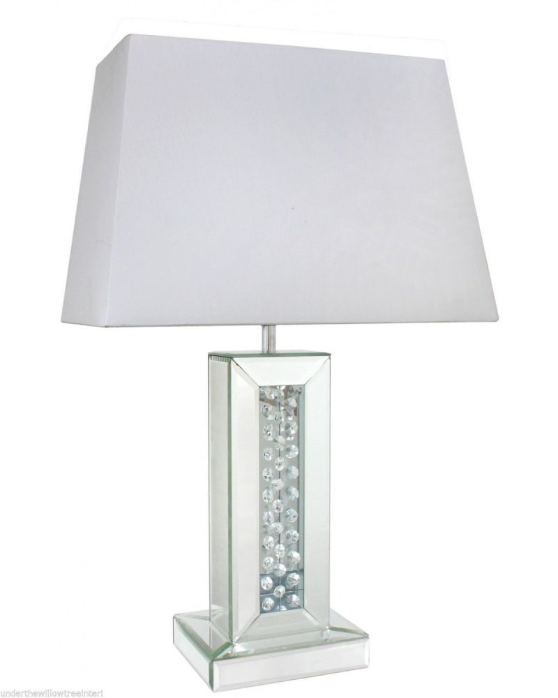 """Astoria Mirror Floating Crystal Table Lamp With Rectangular 17"""" White Shade"""