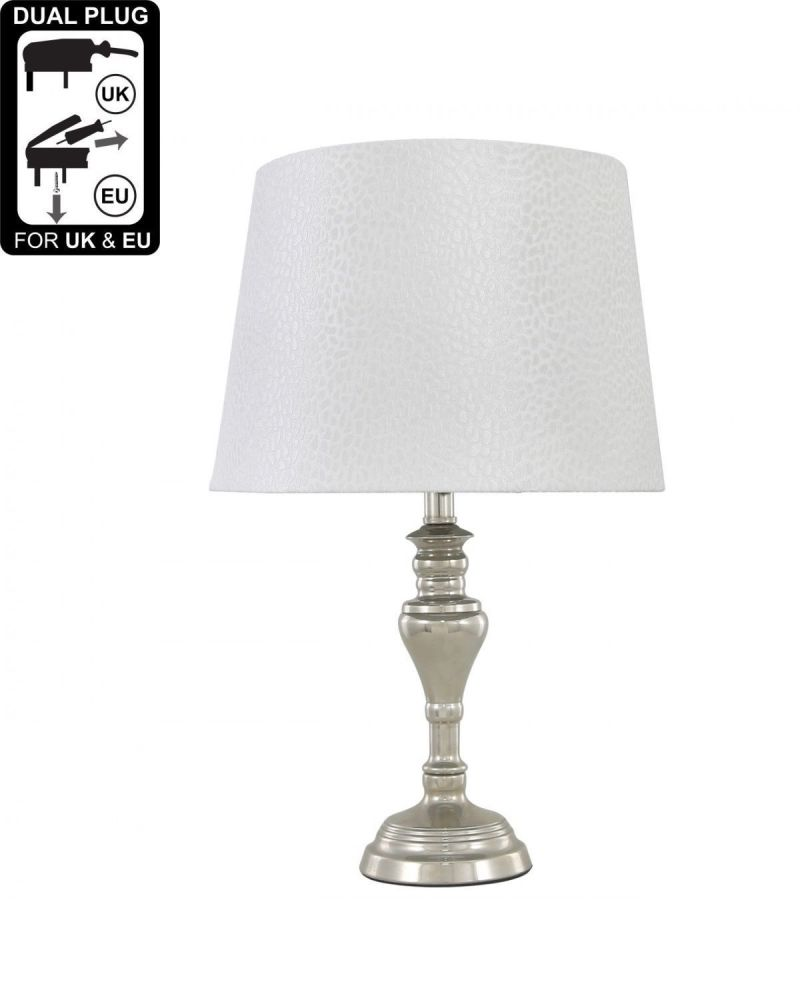 Sandringham Chrome Table Lamp With White Shade