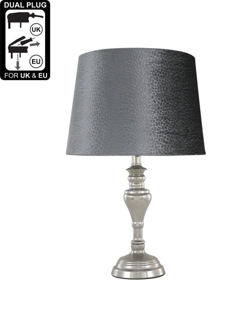 Sandringham Chrome Table Lamp With Grey Shade