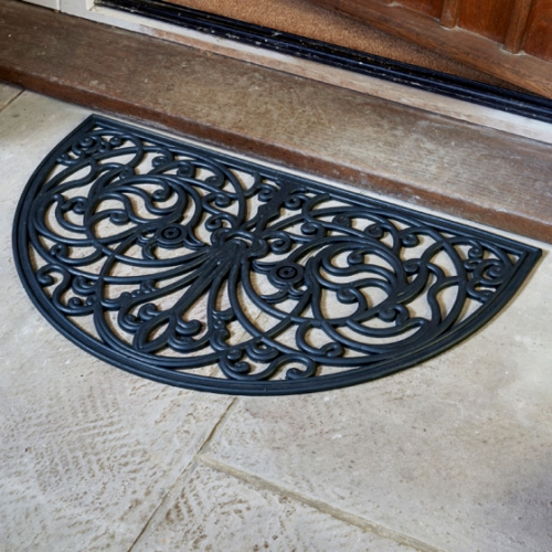 Half Moon Heavy Duty Rubber Cast Iron Style Doormat