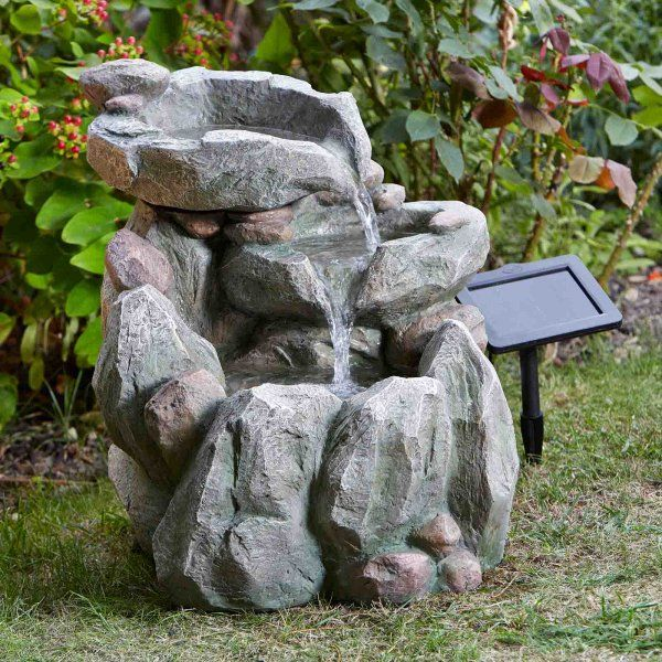 Solar Powered Rock Fall Fountain