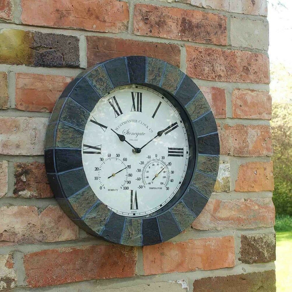 Outdoor Sandstone Effect Wall Clock and Thermometer 14""
