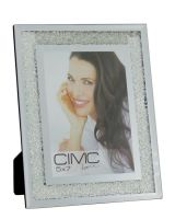 Silver Mirror Diamond Crush Glitter Photo Frame 5x7