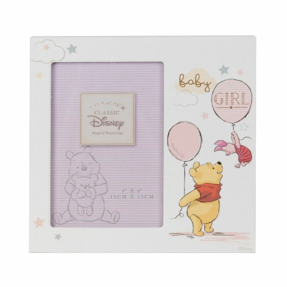 DISNEY Winnie the Pooh Baby Girl Pink Photo Frame 4x6""