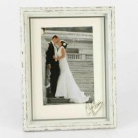 Distressed Wood Wedding Photo Frame With Silver Icons 5x7