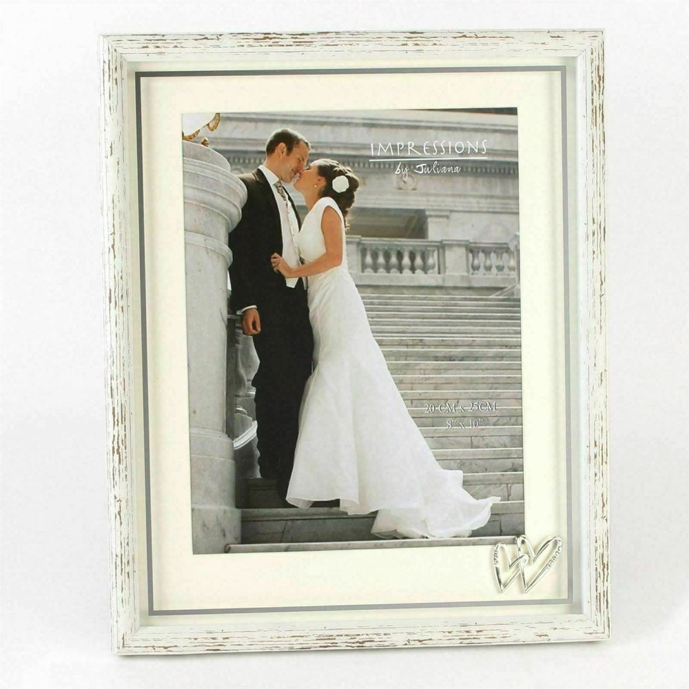 Distressed Wood Wedding Photo Frame With Silver Icons 8x10