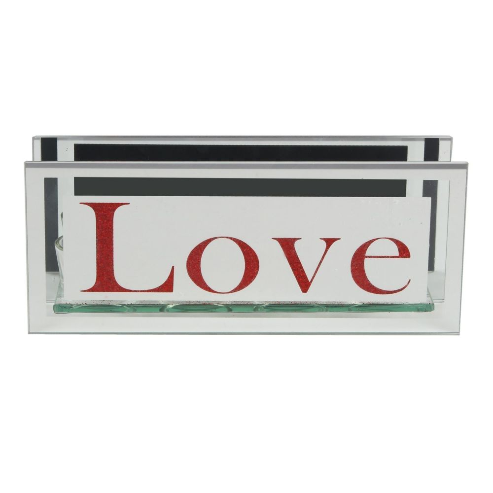 Love Glitter Mirrored Glass 4 Tealight Candle Holder