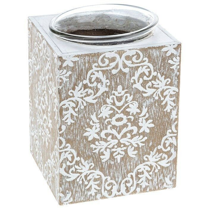 Chic Distressed Patterned Wooden Candle Holder