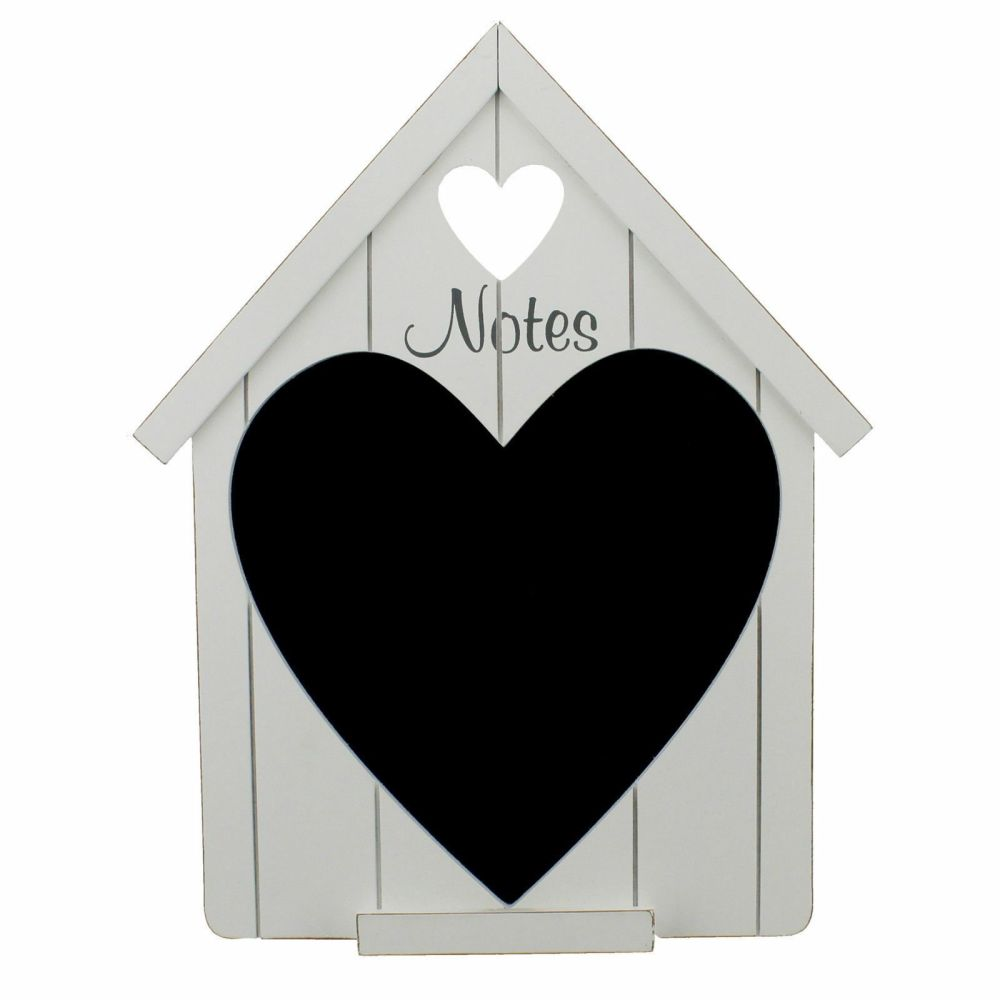 Shabby Chic White Wooden House Shape with Heart Chalk Board
