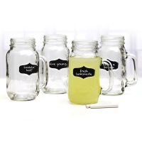Set Of 4 Yorkshire Drinking Mason Chalkboard Jars