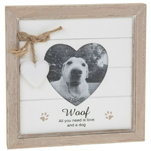 DOG Woof Photo Picture Frame Heart Shabby Chic