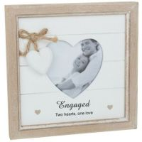 ENGAGED Photo Picture Frame Heart Shabby Chic
