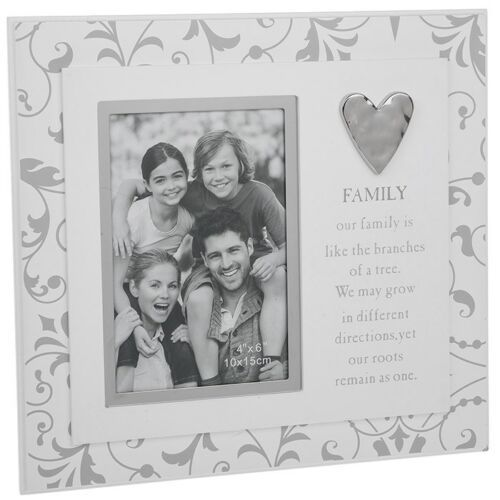 FAMILY Floral Photo Picture Frame Heart Silver Grey