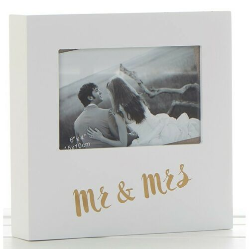 Golden Words Mr & Mrs White Box Photo Frame 6 x 4""