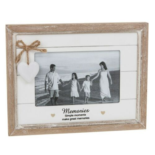 "MEMORIES 4x6"" Photo Picture Frame Heart Shabby Chic"