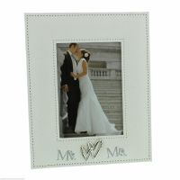Mr & Mrs Linen Photo Frame with Entwined Hearts Holds 5x7