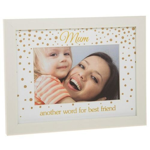 "MUM 4x6"" Gold Glitter Dot Photo Picture Frame Mum"