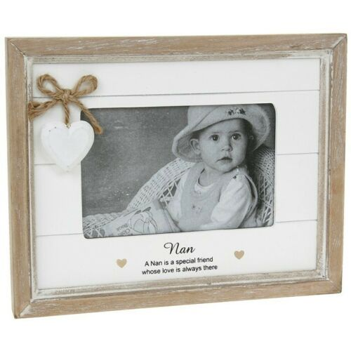 "NAN 4x6"" Photo Picture Frame Gift Heart Shabby Chic"