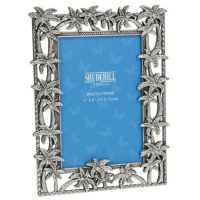 Pewter Colonial Palm Tree Photo Picture Frame 4x6