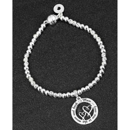 Equilibrium Mum Double Heart Silver Plated Bracelet