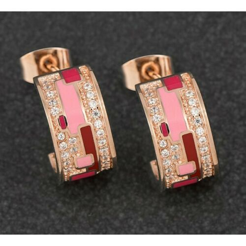 Equilibrium Hand Painted Pink Rose Gold Plated Hoop Earrings