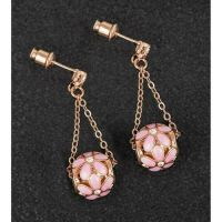 Equilibrium Rose Gold Plated Flower Ball Earrings