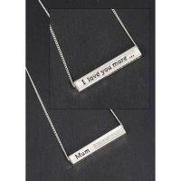 Equilibrium Mum Silver Plated Sparkle Block Necklace