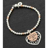 Equilibrium Mum 2 Tone Filigree Heart Bracelet