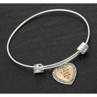 Equilibrium Mum Adjustable 2 Tone Heart Charm Bracelet