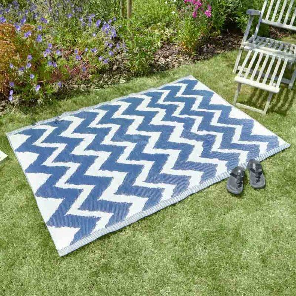 Alfresco blue Zig Zag Outdoor Rug 120x180cm