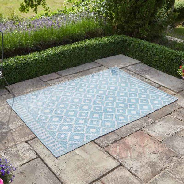 Alfresco blue Diamond Outdoor Rug 120x180cm