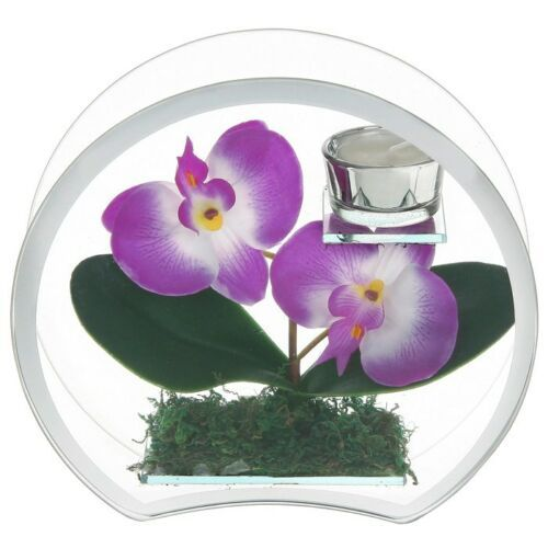 ARTIFICIAL PURPLE ORCHID PLANT TEALIGHT CANDLE HOLDER
