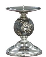 Black and Gold Mosaic Sparkle One Ball Candlestick