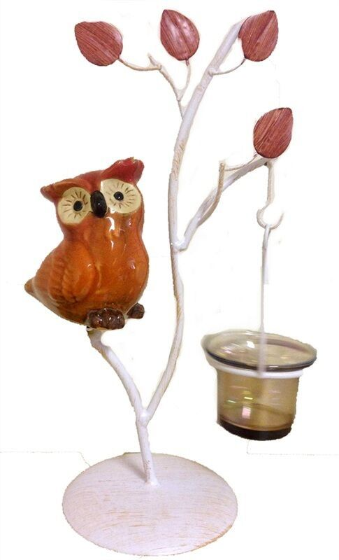 Brown Owl on Stand 1 Cup Tealight Candle Holder