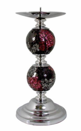 Red Mosaic Sparkle Two Ball Decorative Candlestick